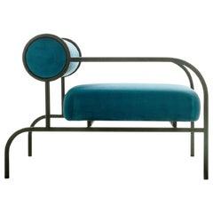 Shiro Kuramata Velvet Sofa in Blue with Arms Black Edition for Cappellini