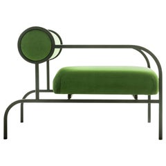 Shiro Kuramata Velvet Sofa in Green with Arms Black Edition for Cappellini