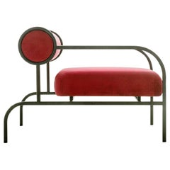 Shiro Kuramata Velvet Sofa in Magenta with Arms Black Edition for Cappellini