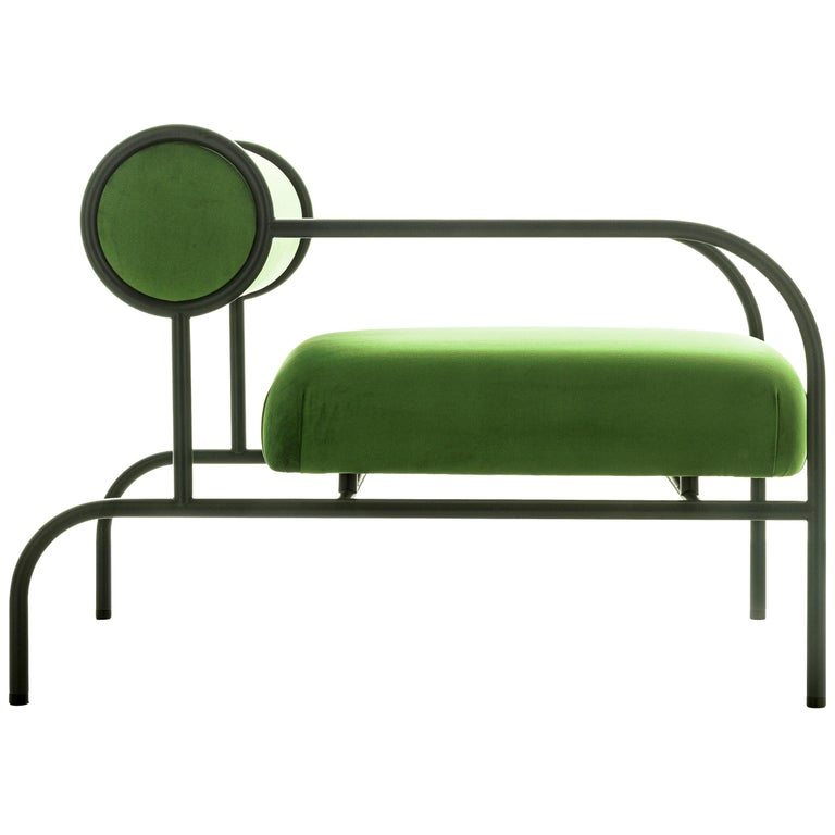 For Sale: Green (PC_17CP19 - green) Shiro Kuramata Velvet Sofa with Arms Black Edition for Cappellini, Exclusive