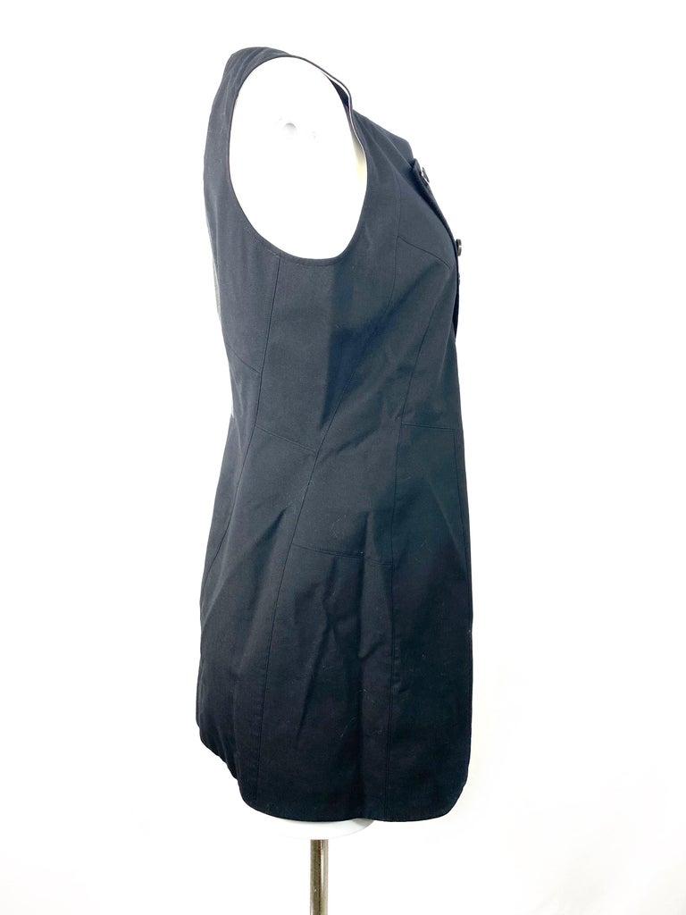 Women's or Men's Shiro Sakai Black Sleeveless Button Down Mini Dress Size L For Sale
