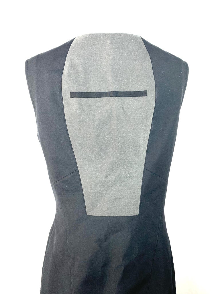 Shiro Sakai Black Sleeveless Button Down Mini Dress Size L For Sale 2