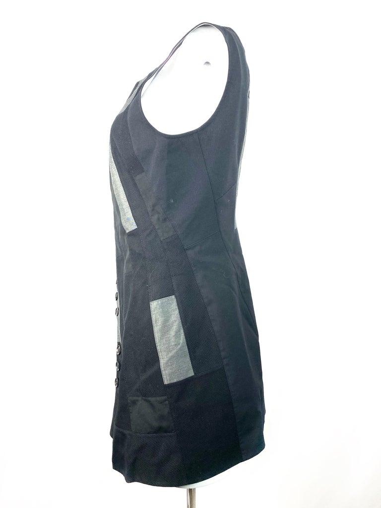 Shiro Sakai Black Sleeveless Button Down Mini Dress Size L For Sale 3