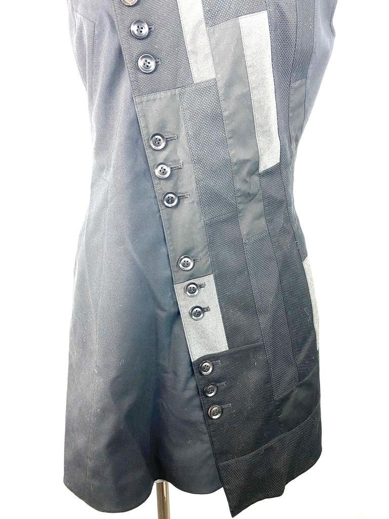 Shiro Sakai Black Sleeveless Button Down Mini Dress Size L For Sale 4