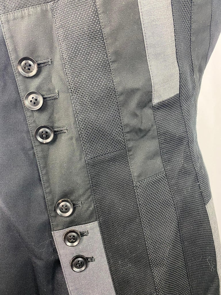 Shiro Sakai Black Sleeveless Button Down Mini Dress Size L For Sale 5