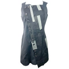 Shiro Sakai Black Sleeveless Button Down Mini Dress Size L