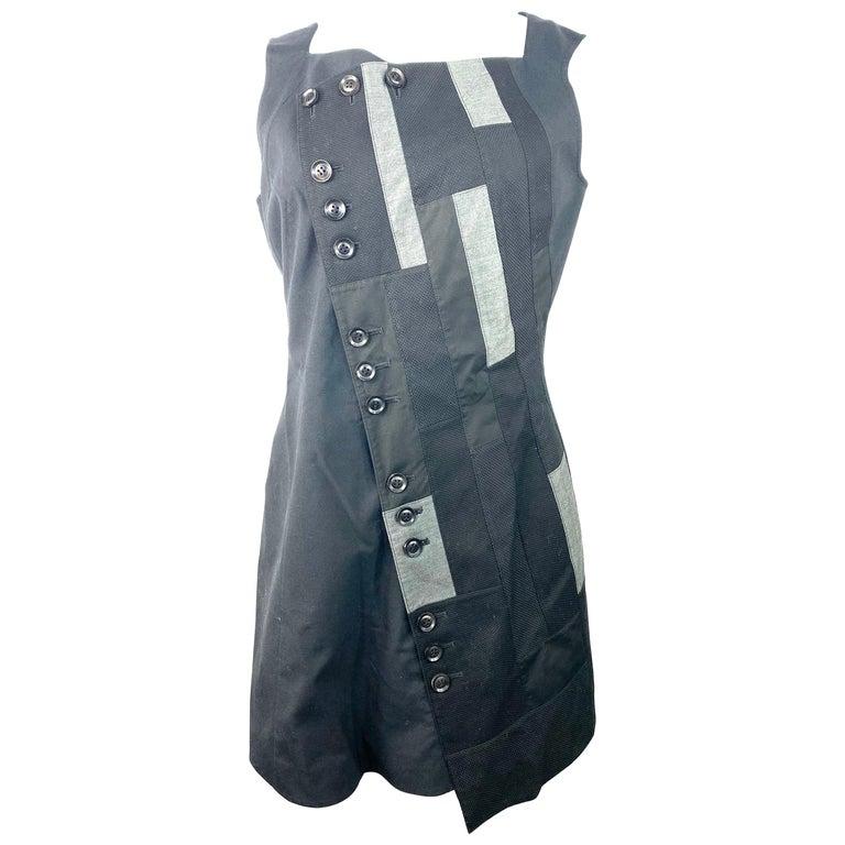 Shiro Sakai Black Sleeveless Button Down Mini Dress Size L For Sale