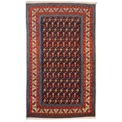 Shirvan Vintage Teppich Azerbeijan in Blau, Beige, Orange und Lila, Jahrhundertmitte