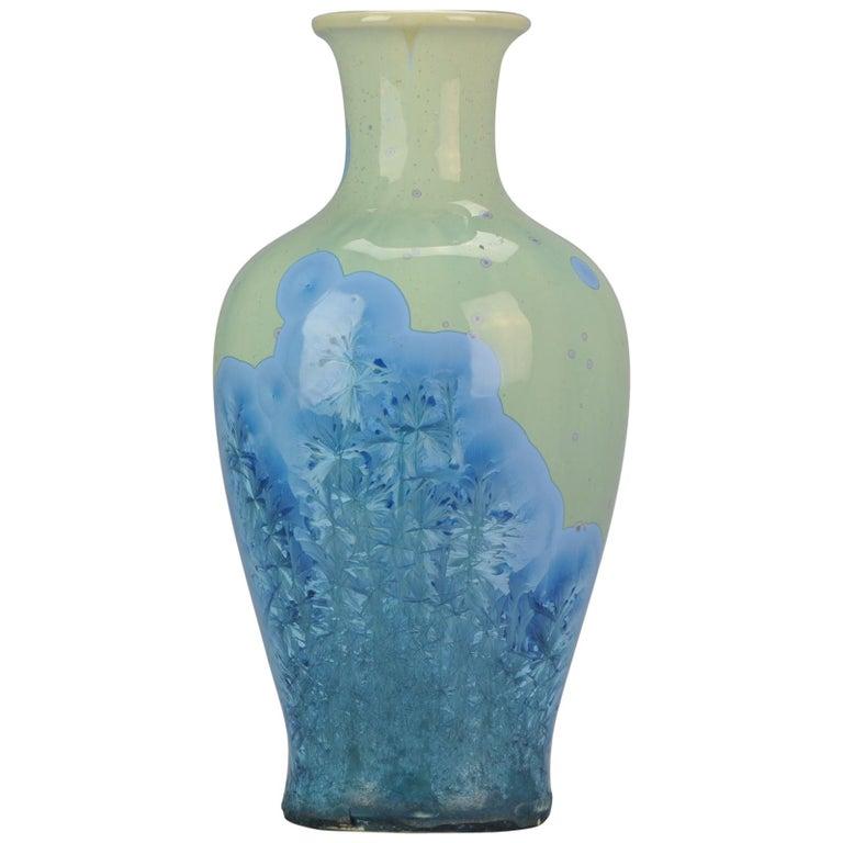 Shiwan 20th Century PRoC 1970-1980 Chinese Porcelain Vase Crystalline Glaz For Sale