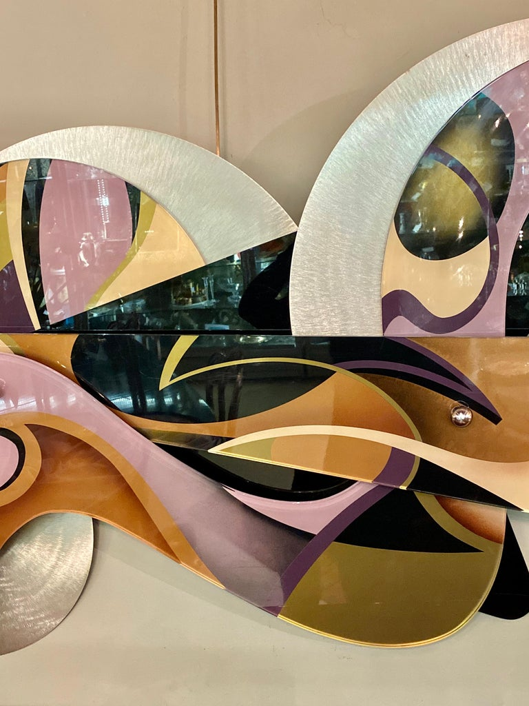 Shlomi Haziza Huge Lucite Metal Abstract Wall Art Sculpture Signed In Good Condition For Sale In Stamford, CT