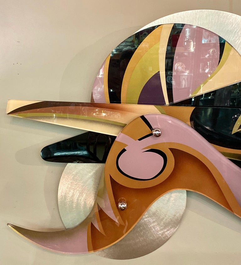 Contemporary Shlomi Haziza Huge Lucite Metal Abstract Wall Art Sculpture Signed For Sale