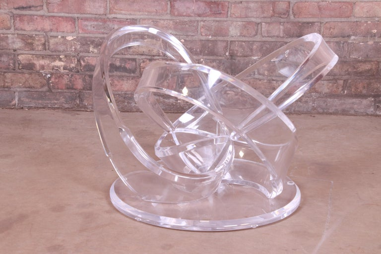 Shlomi Haziza Modern Sculptural Lucite and Glass Cocktail Table, 1980s For Sale 6