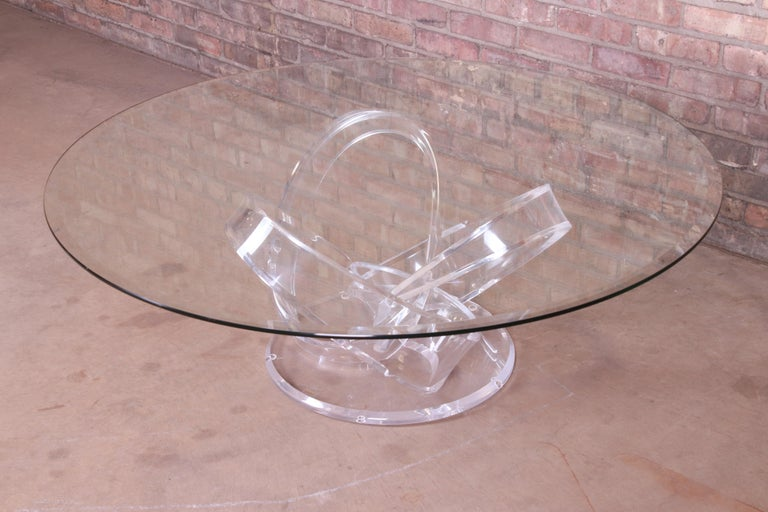 Shlomi Haziza Modern Sculptural Lucite and Glass Cocktail Table, 1980s In Good Condition For Sale In South Bend, IN
