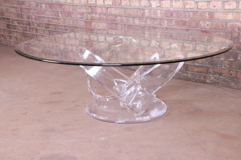 Late 20th Century Shlomi Haziza Modern Sculptural Lucite and Glass Cocktail Table, 1980s For Sale