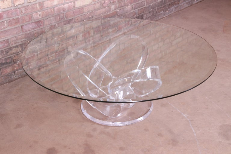 Shlomi Haziza Modern Sculptural Lucite and Glass Cocktail Table, 1980s For Sale 3