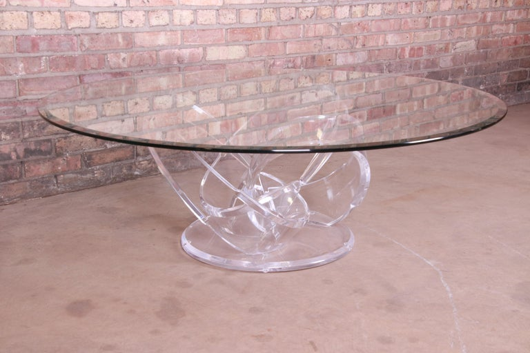 Shlomi Haziza Modern Sculptural Lucite and Glass Cocktail Table, 1980s For Sale 4