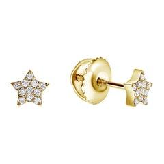 0.08 Carat Diamonds Mini Star Stud Earrings in 14 Karat Gold - Shlomit Rogel