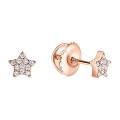 0.08 Carat Diamonds Mini Star Stud Earrings in 14 Karat Rose Gold -Shlomit Rogel