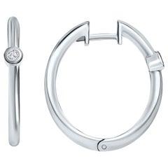 0.10 Carat Diamond Hoop Earrings in 14 Karat White Gold - Shlomit Rogel