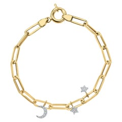 Shlomit Rogel, 0.11 Carat Diamond Moon and Star Charms Cable Chain Bracelet