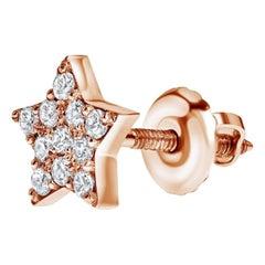 0.11 Carat Diamonds Single Midi Star Earring in 14 Karat Rose Gold Shlomit Rogel