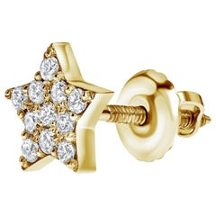 0.11 Carat Diamonds Single Midi Star Earring in 14 Karat Gold - Shlomit Rogel