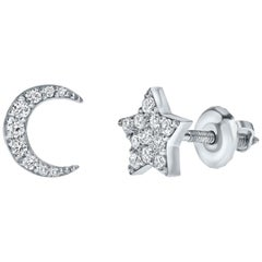 0.17 Carat Diamond Star & Moon Mismatched Stud Earrings 14K Gold - Shlomit Rogel