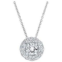 0.19 Carat Diamonds Mini Halo Pendant in 14 Karat White Gold - Shlomit Rogel