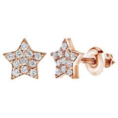 0.22 Carat Diamonds Midi Star Stud Earrings in 14 Karat Rose Gold Shlomit Rogel