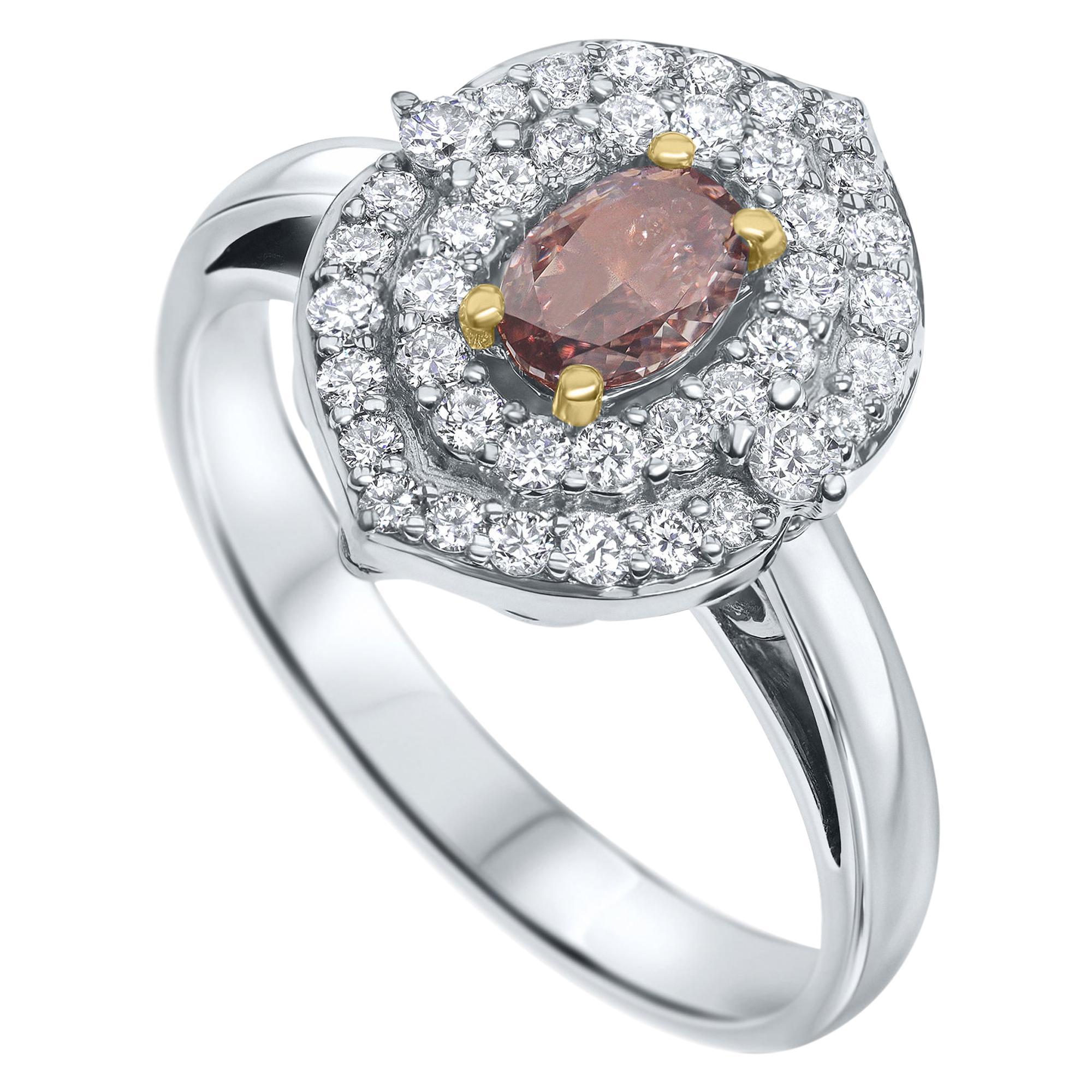 0.62 Carat GIA Certified Natural Fancy Orange Pink Diamond Ring - Shlomit Rogel