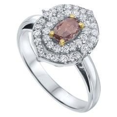 Shlomit Rogel, 0.25 Carat GIA Certified Natural Fancy Orange Pink Diamond Ring