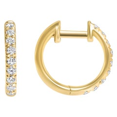 Shlomit Rogel, 0.27 Carat Lori Diamond Hoop Earrings in 14 Karat Yellow Gold