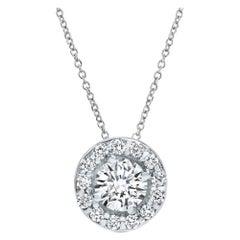 0.34 Carat Diamonds Midi Halo Pendant in 14 Karat White Gold - Shlomit Rogel