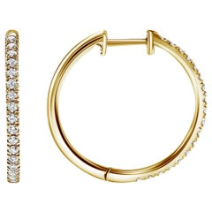 0.37 Carat Pave Diamond Hoops Earrings in 14 Karat Yellow Gold - Shlomit Rogel