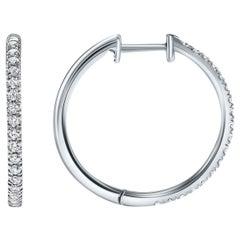 0.37 Carat Pave Diamond Hoops in 14 Karat White Gold - Shlomit Rogel