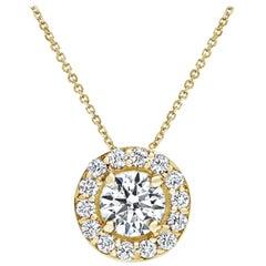 0.42 Carat Diamond Large Halo Pendant in 14 Karat Yellow Gold - Shlomit Rogel