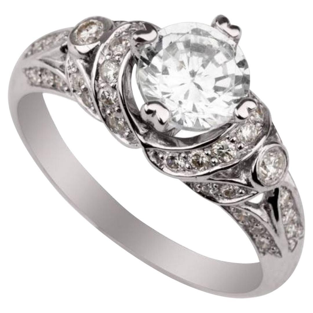 """0.88 Carat """"Afrodita"""" Diamond Ring in 14 Karat White Gold - Shlomit Rogel"""