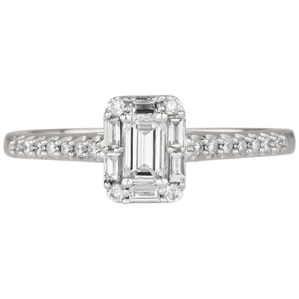 "0.50 Carat ""Fantazy"" Diamond Emerald Cut Ring in 14 Karat Gold - Shlomit Rogel"
