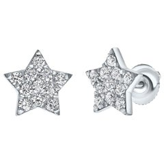 Shlomit Rogel, 0.60 Carat Genuine Diamonds Large Star Stud Earrings in 14K Gold