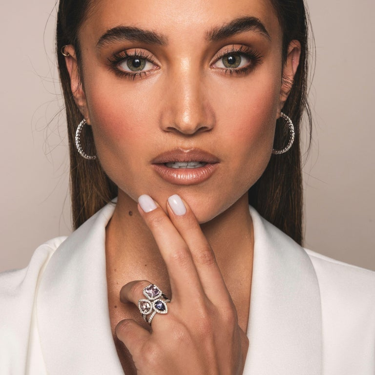 Modern 0.60 Carat Pear Tanzanite & Diamonds Ring in 14K in White Gold - Shlomit Rogel For Sale
