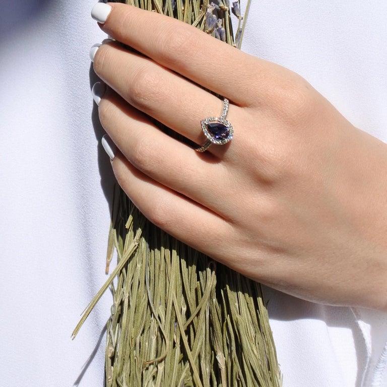 Pear Cut 0.60 Carat Pear Tanzanite & Diamonds Ring in 14K in White Gold - Shlomit Rogel For Sale