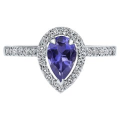 Shlomit Rogel, 0.60 Carat Pear Tanzanite & Diamonds Ring in 14K in White Gold