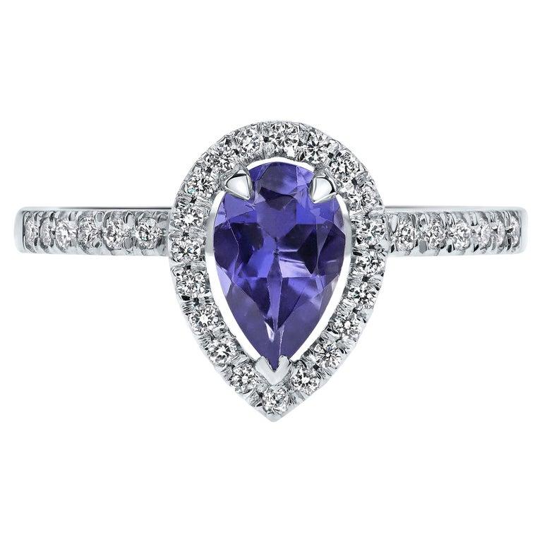 0.60 Carat Pear Tanzanite & Diamonds Ring in 14K in White Gold - Shlomit Rogel For Sale