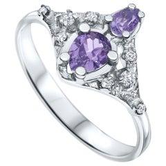 Shlomit Rogel, 0.7 Carat Natural Lilac Sapphire and Diamonds Ring