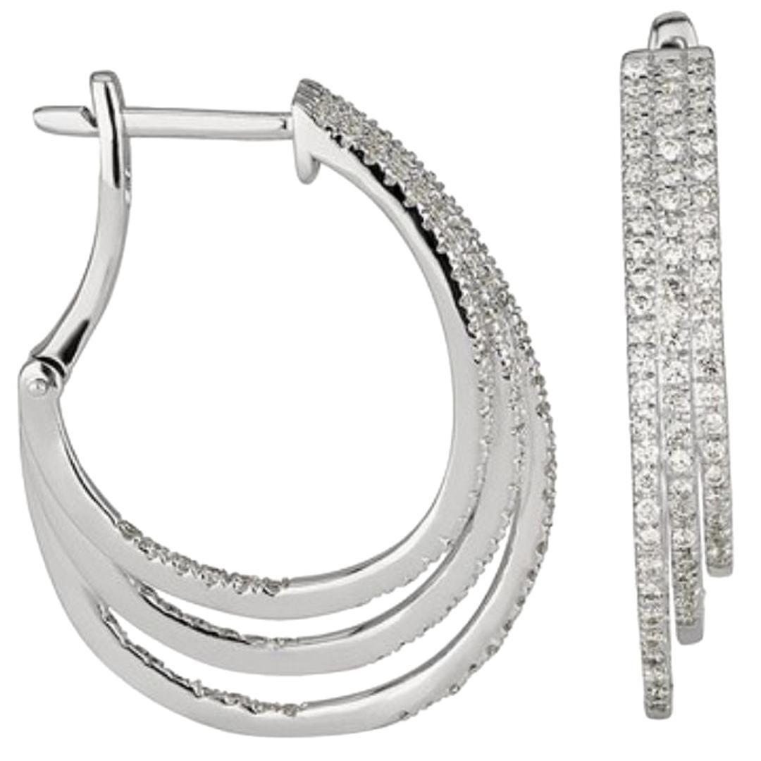Shlomit Rogel - 0.96 Carat Diamond Hoop Earrings in 14 Karat White Gold