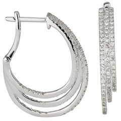 Shlomit Rogel - 0.96 Carat Diamond Hoop Earrings in 14 Karat White Gold