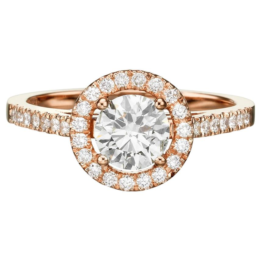 Shlomit Rogel - 1 Carat Halo Lenny Diamond Ring in 14 Karat Rose Gold