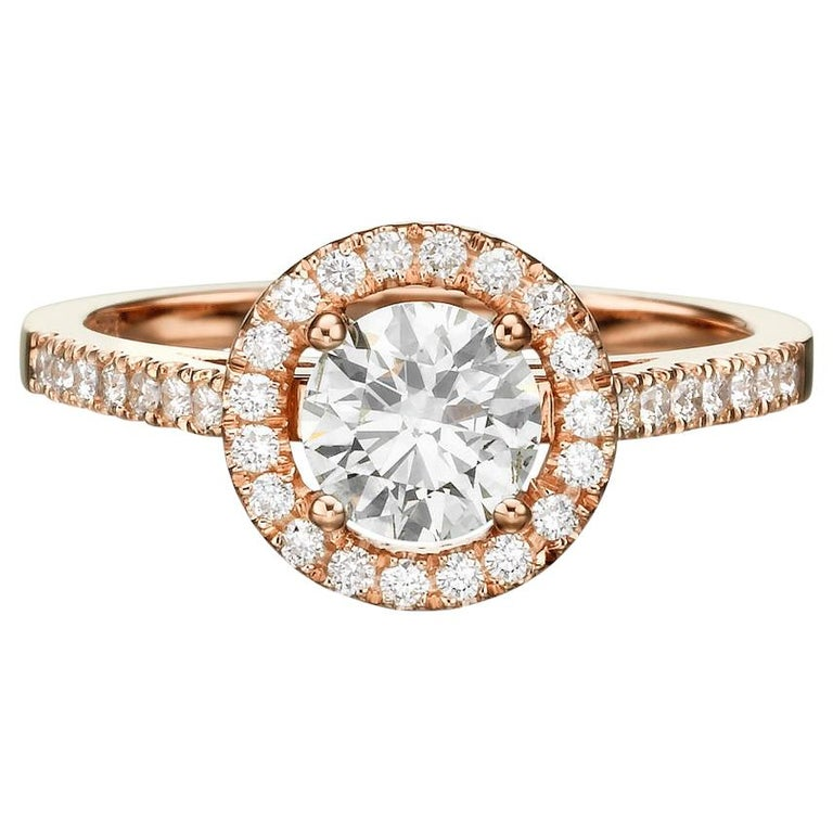 Shlomit Rogel - 1 Carat Halo Lenny Diamond Ring in 14 Karat Rose Gold For Sale