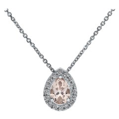 Shlomit Rogel, 1 Carat Morganite and Diamonds Pendant in 14 Karat White Gold