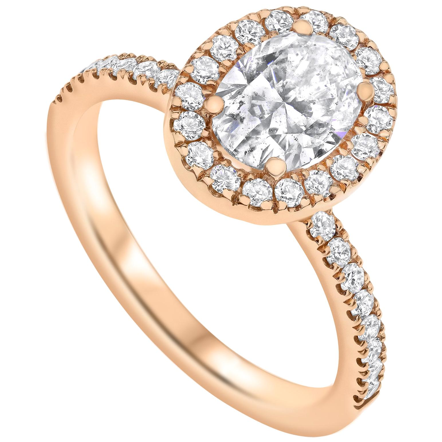 Shlomit Rogel, 1 Carat Oval Shaped Diamond Halo Ring in 14 Karat Rose Gold EGL